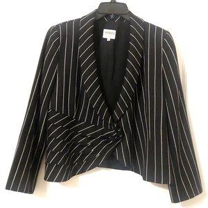 Armani Collezioni Black Pinstriped  Blazer Wool